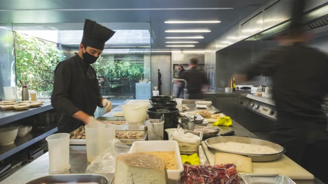 view of restaurant les cols' kitchen during the midday service on june 24 2020 in olot girona spain 'les cols' has two michelin stars and has just... - gourmet stock videos & royalty-free footage