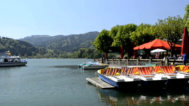 ws view of restaurant nearby lake / schliersee, bavaria, germany - wide shot stock videos & royalty-free footage