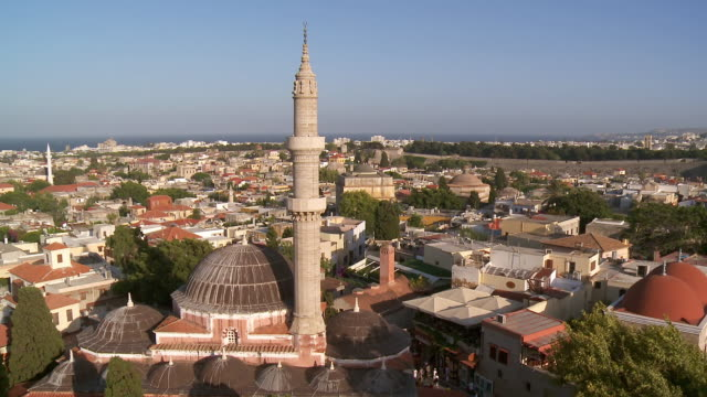 WS HA View of Rhodes Town and Souleiman Mosque / Rhodes, Dodecanese islands, Greece