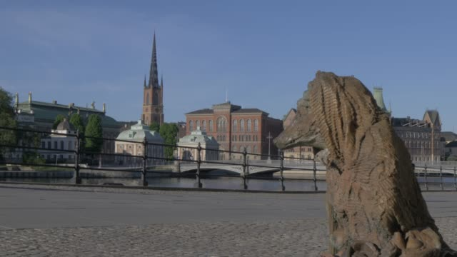 View of Riddarholmen Church and Centralbron from Gamla Stan, Stockholm, Sweden, Scandinavia, Europe