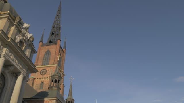 view of riddarholmen church, stockholm, sweden, scandinavia, europe - circa 13th century stock videos and b-roll footage