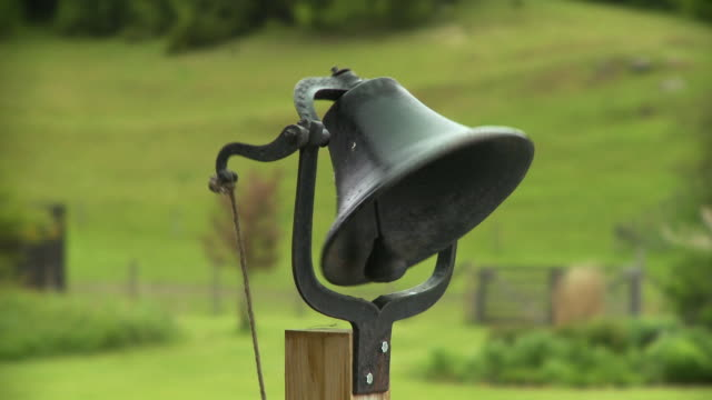 cu view of ringing bell / stowe, vermont, usa - bell stock videos & royalty-free footage