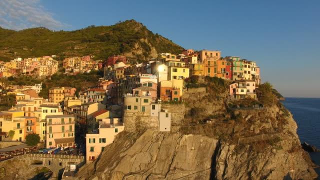 view of riomaggiore viliage at cinque terre coast - cinque terre stock videos and b-roll footage