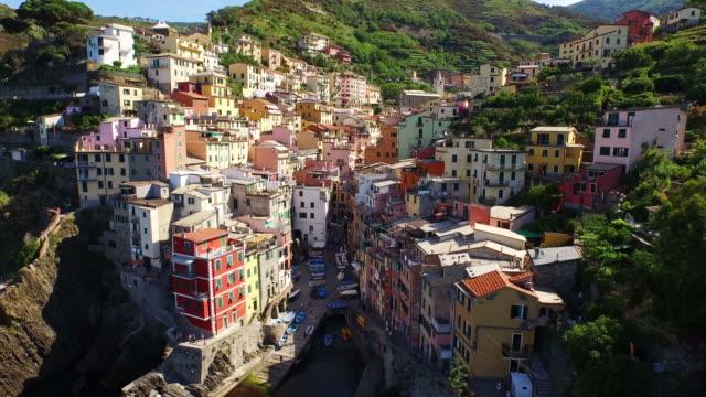 view of riomaggiore village at cinque terre coast - cinque terre stock videos and b-roll footage