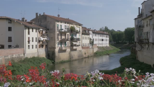 view of river and buildings from ponte degli angeli, vicenza, veneto, italy, europe - ponte stock videos & royalty-free footage