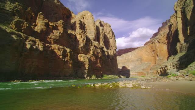 WS SLO MO View of river and cliffs in Grand Canyon / Grand Canyon, Arizona, USA