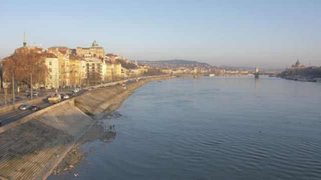 View of River Danube and city from Elizabeth Bridge at sunrise, UNESCO World Heritage Site, Budapest, Hungary, Europe