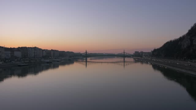 View of River Danube at sunrise, Budapest, Hungary, Europe