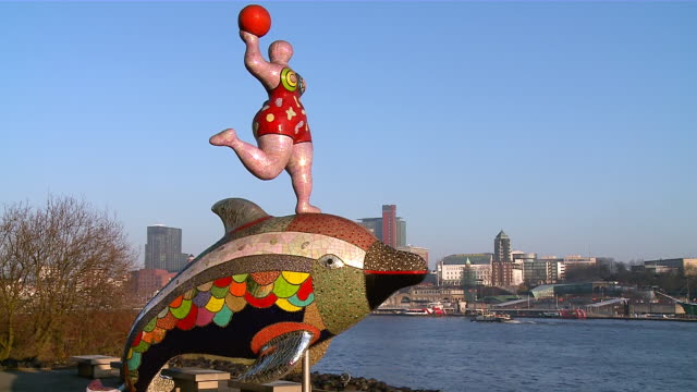 ws view of river elbe with city / hamburg, germany  - rappresentazione di animale video stock e b–roll