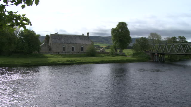 WS View of river flowing / Cromdale, Speyside, Scotland