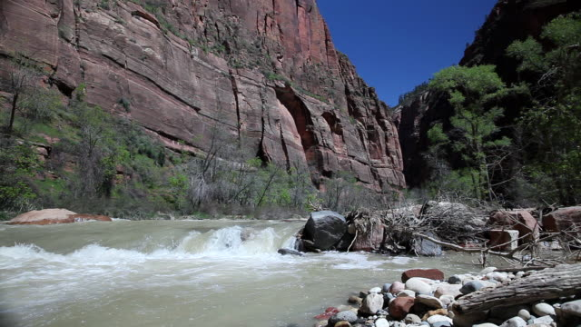 ws view of river flowing / just outside zion national park, utah, united states  - zion national park stock videos & royalty-free footage