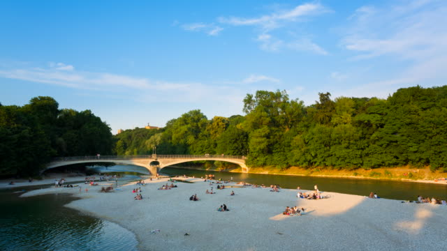 WS T/L View of river Isar in center of Munich / Munich, Bavaria, Germany
