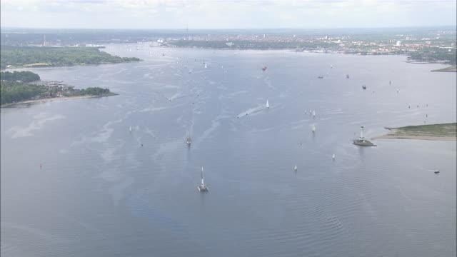 aerial ws view of river / kiel canal,schleswig-holstein, germany - schleswig holstein stock-videos und b-roll-filmmaterial
