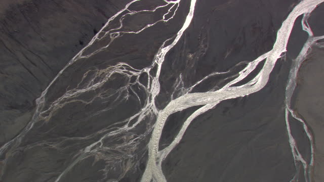 WS AERIAL ZI ZO View of river patterns / Iceland