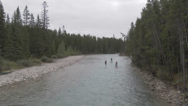 View of river rafting near Canmore, Alberta, Canada, North America