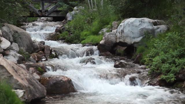 vidéos et rushes de ws view of river stream water flowing over rocks / sundance, provo river, utah, usa - provo