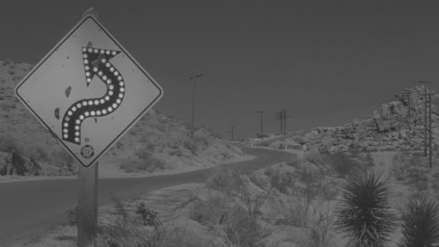 MS View of road in desert with road sign