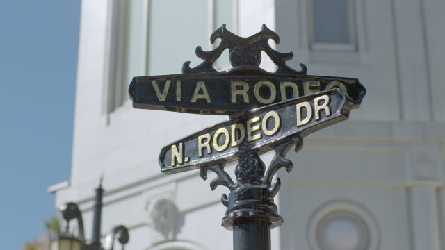 CU View of road sign, building in background / Rodeo Drive, Beverly Hills, Los Angeles County, California, United States