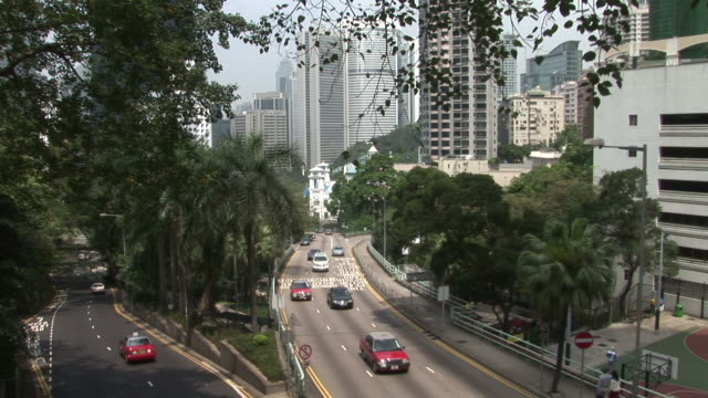 view of road transportation in hong kong china - palma nana video stock e b–roll