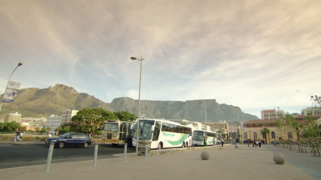 WS PAN View of Road with static buses / coaches - Cape Town / Cape Town, South Africa