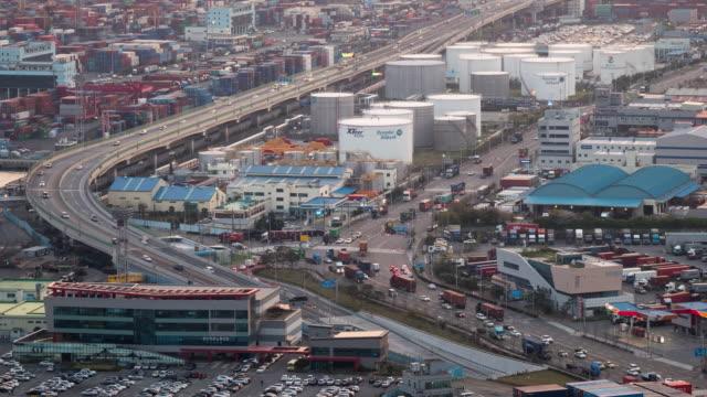 view of roads in sinseondae dock, busan harbor, south korea - komplexität stock-videos und b-roll-filmmaterial