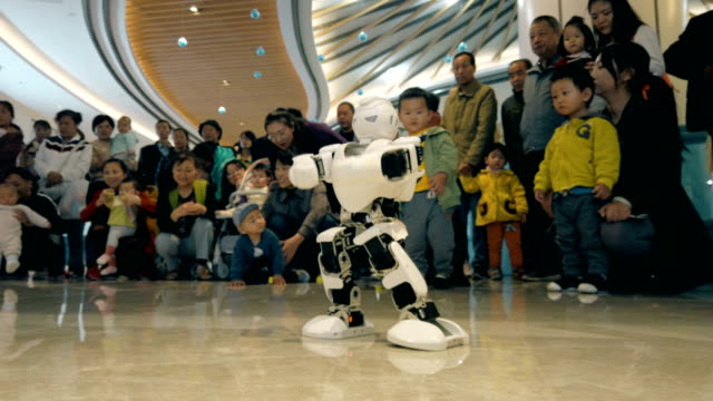 view of robot show in mall,xi'an,china. - artificial intelligence stock videos & royalty-free footage