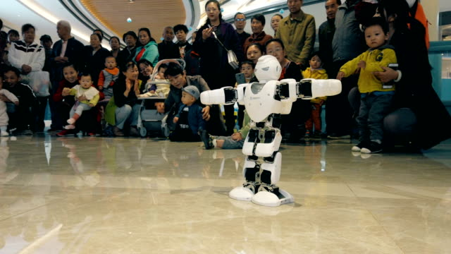 view of robot show in mall,xi'an,china. - exercise machine stock videos & royalty-free footage