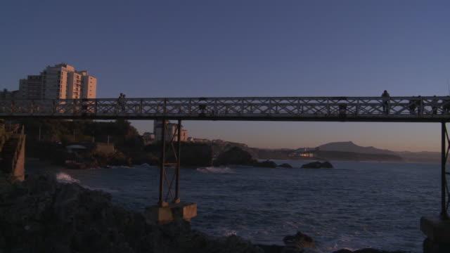 MS PAN View of Rock of Virgin on sunset in sea Bridge / Biarritz, Pyr̩n̩es Atlantique, France