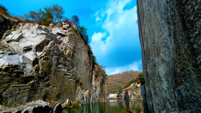 view of rock quarry and cheonjuho lake at pocheon art valley (popular tourist destinations) - quarry stock videos and b-roll footage