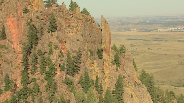 ms ds tu aerial view of rocky mountain with trees in eldorado canyon in boulder county / colorado, united states - boulder rock stock videos and b-roll footage
