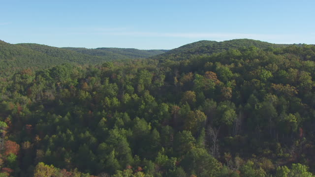 ws aerial view of rolling hills of ozark mountains / missouri, united states - missouri stock videos & royalty-free footage