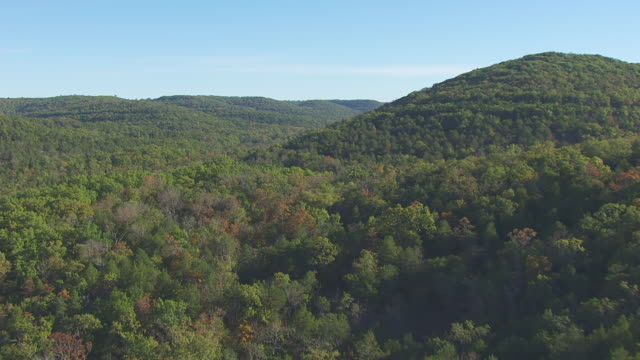 WS AERIAL View of rolling hills of Ozark Mountains / Missouri, United States
