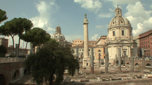 ws pan view of roman ulpia basilica / rome, italy  - basilica stock videos and b-roll footage