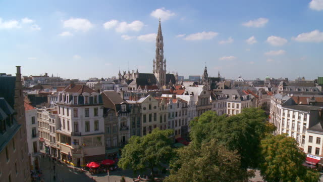 vidéos et rushes de ws view of roofs of brussels and his majestic town hall / brussels, brussels capital region, belgium - belgique