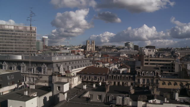 vidéos et rushes de ws view of roofs of brussels / brussels, belgium - belgique