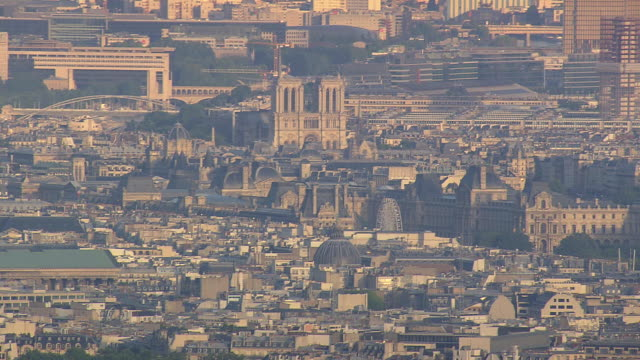 ws aerial view of rooftops of louvre to notre dame / paris, france - notre dame de paris stock videos and b-roll footage