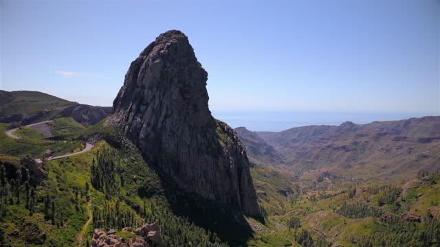 Weergave van de Roque de Agando - Nationaal Park Garajonay op Canarischeeilanden La Gomera