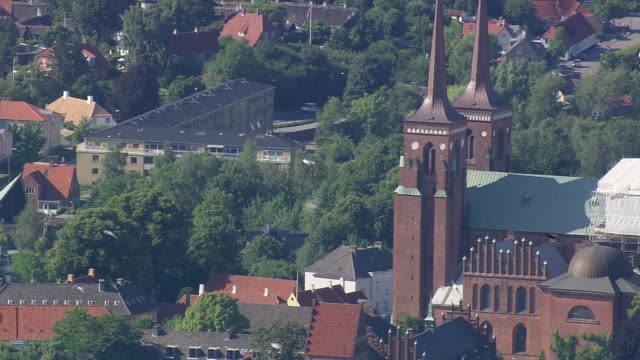 WS AERIAL ZO View of Roskilde cathedral / Sjaelland, Denmark