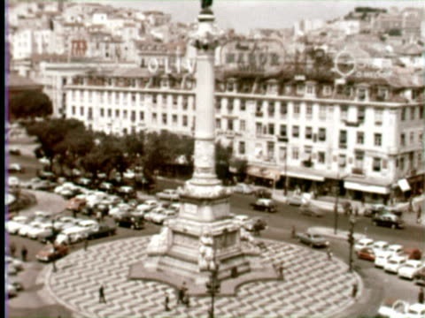 MS ZI View of Rossio Square, Lisbon, Portugal / AUDIO