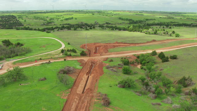 WS AERIAL View of Route pipeline construction site for Natural Gas Pipeline Construction in Dewey county / Oklahoma, United States