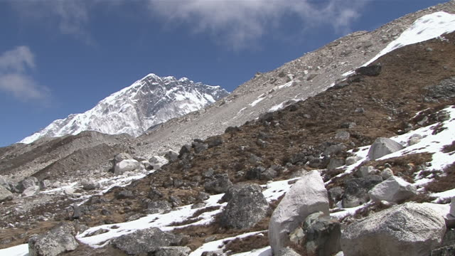 ws pan view of route to everest basecamp in khumbu(glacier) valley / thokla, khumbu region, nepal - khumbu stock videos and b-roll footage