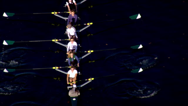 ws arieal zo zi view of rowing eights from dartmouth college / new hampshire, united states - rowing stock videos & royalty-free footage