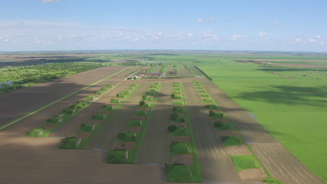 ws aerial view of rows of bunkers at world war two naval ammunitions depot in adams county / nebraska, united states - bomb shelter stock videos & royalty-free footage
