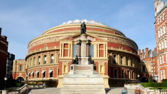 ws td t/l pan view of royal albert hall / england, uk - royal albert hall stock videos & royalty-free footage