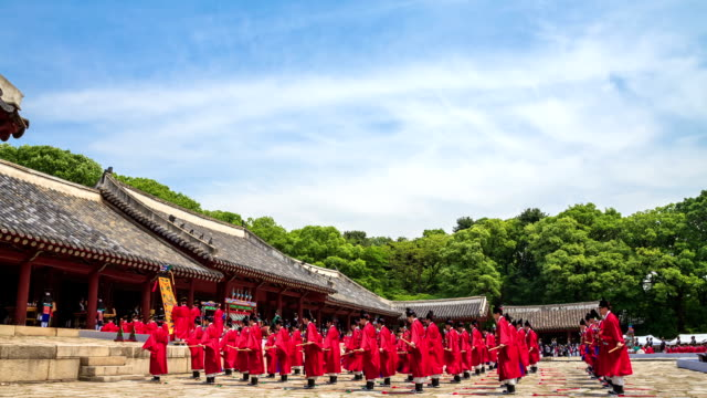 View of royal ancestral rites music(Korea Intangible Cultural Assets 1) at Jongmyo Shrine(Korea's famous historical place) in Jongro (UNESCO World Heritage Site)