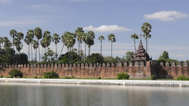 WS View of Royal Palace with Mandalay Fort surrounded by Canal / Mandalay, Mandalay Division, Myanmar