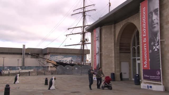 view of rrs discovery and penguin statues outside visitor centre at discovery point. dundee is the fourth largest city in scotland with a population... - lorraine kelly stock videos & royalty-free footage