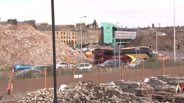 view of rubble and development work at riverside rebuild project in dundee. dundee is the fourth largest city in scotland with a population of some... - lorraine kelly stock videos & royalty-free footage