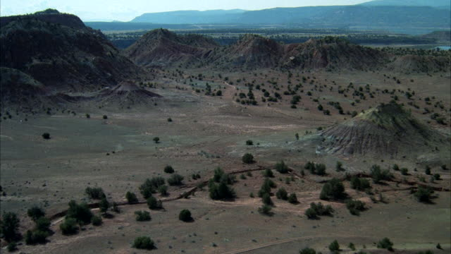 aerial view of rugged, country foothills and  painted mesa, plateaus - foothills stock videos & royalty-free footage