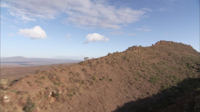 WS AERIAL View of rugged ridge in rift Valley / Kenya